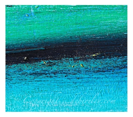 oil painting on wood board, abstract river in greens, indigo blue, cerulean and cobalt green paints, debiriley.com