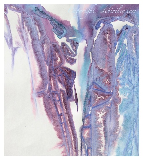 watercolor abstract in lavender and blue, Michelango quote, creative experimental watercolor techniques, debiriley.com