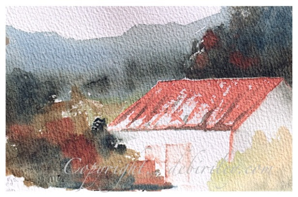 light red watercolor, color mixing light red, watercolor landscapes cabin, debiriley.com