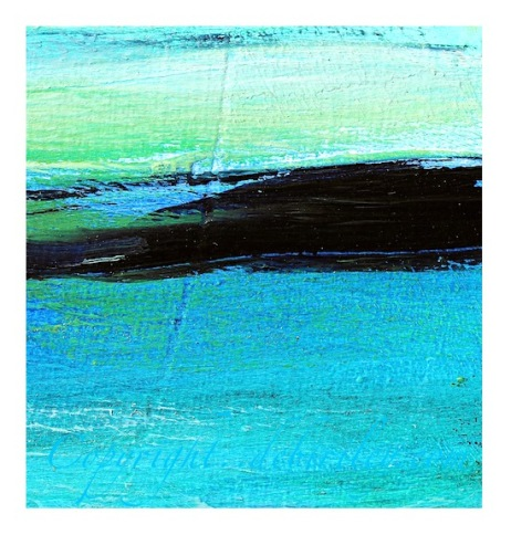 oil semi abstract painting, blue and green oil paints, debiriley.com