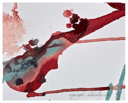 watercolor abstract, sage green, light red, works on paper, debiriley.com