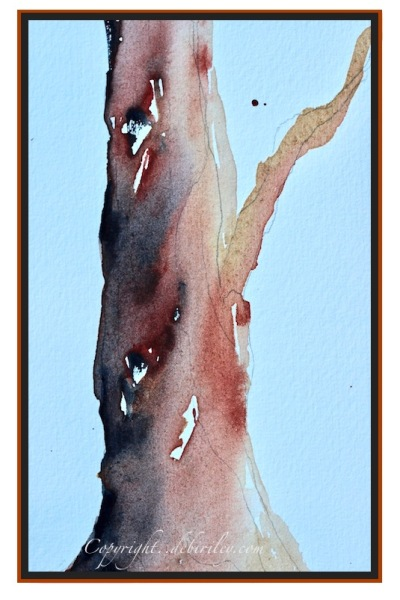 watercolors light red, indigo, raw umber palette, tree in light red, debiriley.com