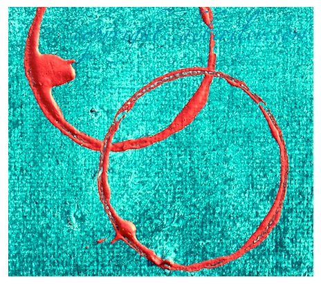 acrylic abstract wabi sabi, cobalt teal blue, using complementary pairs painting, debiriley.com