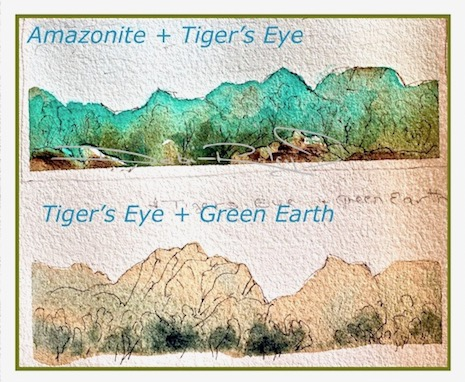 Daniel Smith Tigers Eye, Amazonite, Impressionist landscape, debiriley.com