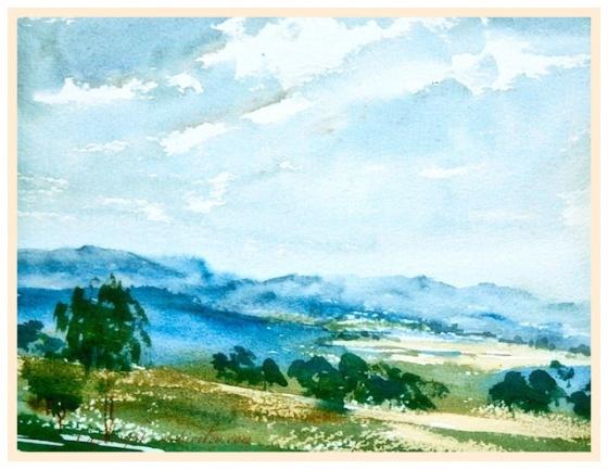 impressionist watercolor landscape, plein air painting, cobalt blue pb28 watercolor, limited palette watercolors, debiriley.com