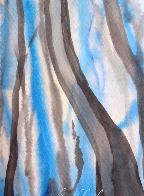 #worldwatercolormonth, impressionist blue tree landscape, debiriley.com