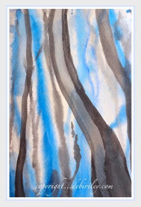 #worldwatercolormonth, impressionist blue tree landscape, debiriley.com