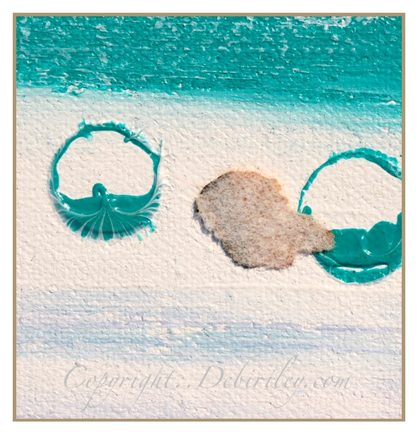abstract on the beach oil painting, cobalt teal blue pg50, debiriley.com