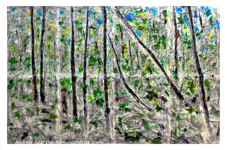 mixed media trees, protest for peace, forest glade canada, andrew seal, debiriley.com