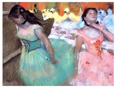 Degas pink and cobalt teal dancers, flowers dance, macro flower photography, debiriley.com