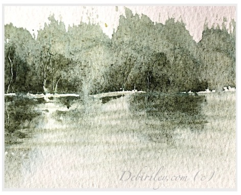 Daniel Smith watercolors, zoisite watercolor green grey, Impressionist landscape trees, water and tree reflection painting, simple easy beginner watercolor landscape, art basics debi riley