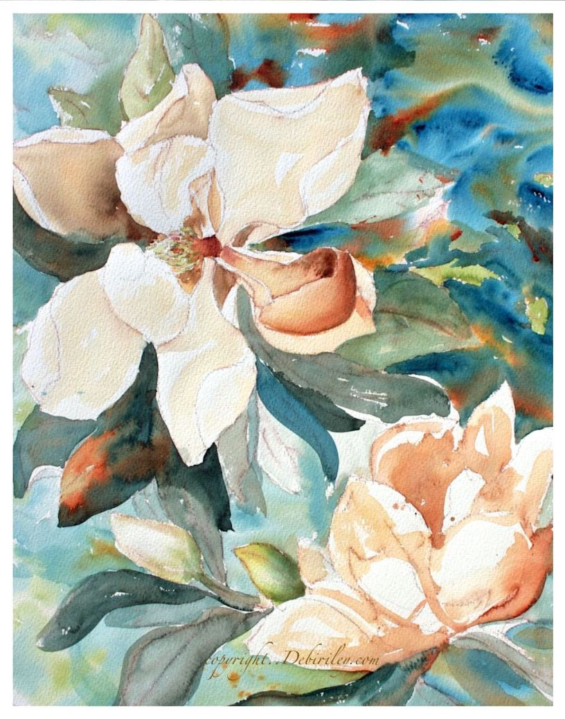 watercolor magnolias, floral techniques watercolors, solving and fixing old paintings, debiriley.com