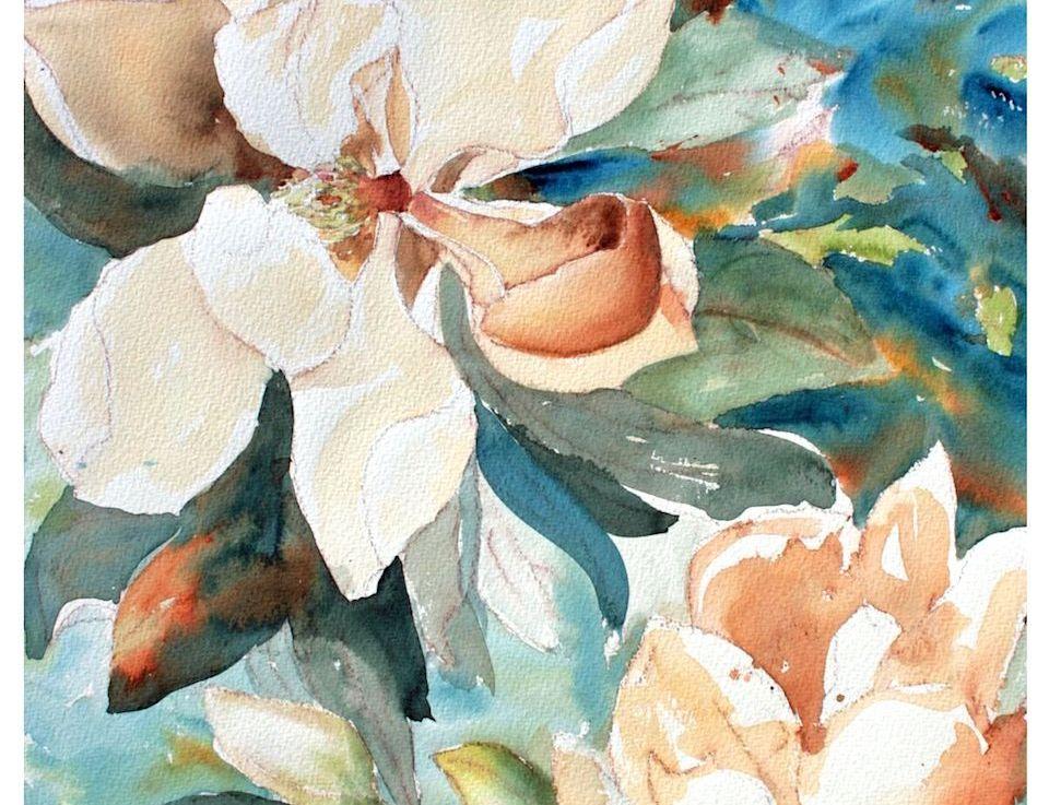 Watercolor Magnolias Techniques