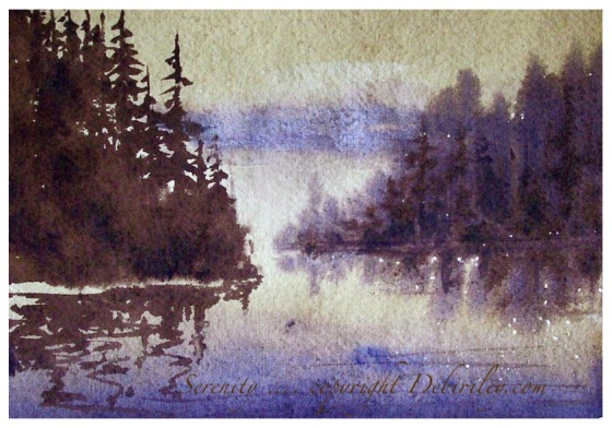 watercolor landscapes tree reflections, painting morning on the water using watercolors, creating mood with paint, debiriley.com