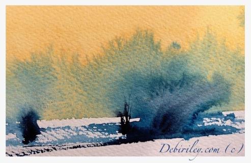 Daniel Smith watercolor palette, Naples Yellow, prussian blue pb27, impressionist watercolor landscape, debiriley.com