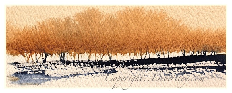 impressionist landscape trees, golden trees in watercolors, indigo daniel smith watercolors, watercolor beginner tree techniques, debiriley.com