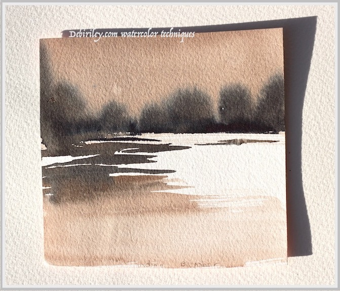 Soft Trees across the waters: watercolor