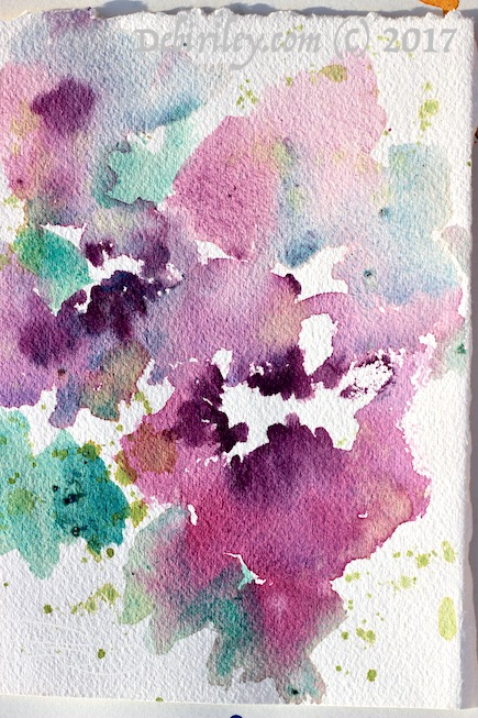 watercolor impressionist flower, pink and purple flower abstract painting, debiriley.com