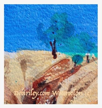 impressionist watercolor landscapes, painting simple trees watercolours, cobalt blue pb28, burnt sienna pbr7, debi riley watercolors, debiriley.com