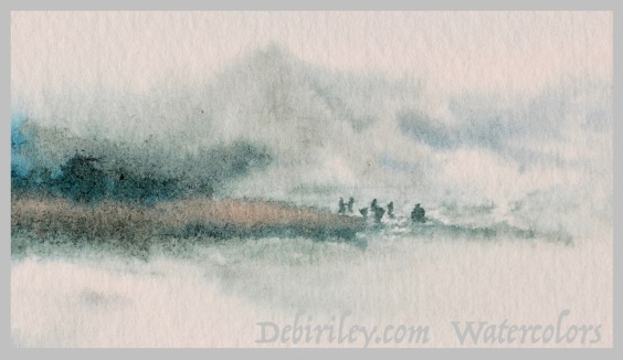 beach clam diggers painting, watercolor beach, impressionist landscapes, debiriley.com