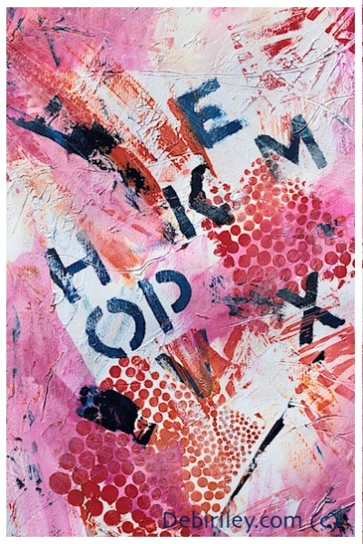 mixed media in pink and orange, acrylic contemporary art, using words in paintings, debiriley.com
