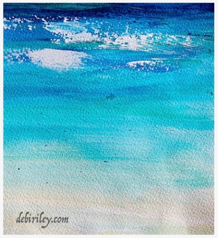 palette knife sea beach painting, cobalt teal blue pg50, prussian blue pb27, Daniel Smith paints, debiriley.com