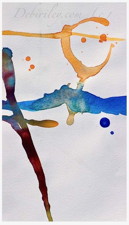 watercolor calligraphic abstracts, creative brush use, playing with watercolours, debiriley.com