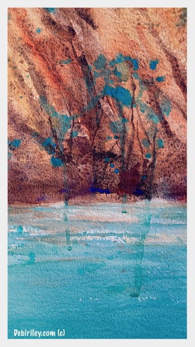 colors of nature, places that haunt your memory, landscapes wild and free, cobalt teal blue pg50 Daniel Smith watercolor, debi riley art, debiriley.com