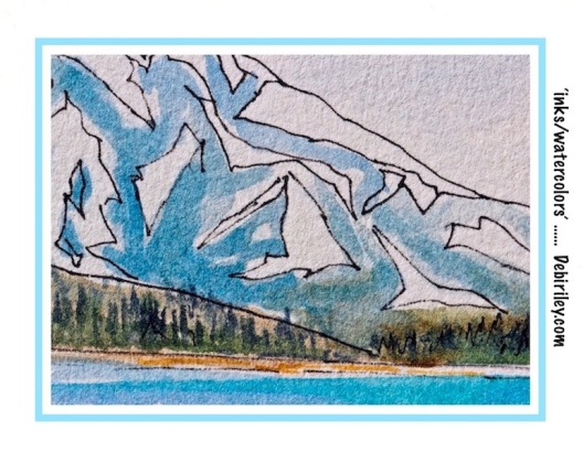 cobalt teal blue water, watercolor landscape with ink, debiriley.com