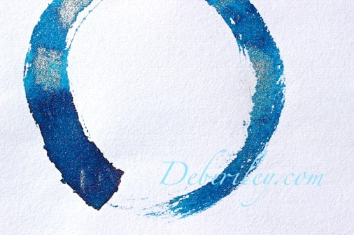 Japanese Enso, zen art, meditation, creative brush use, circle of enlightenment, debi riley art