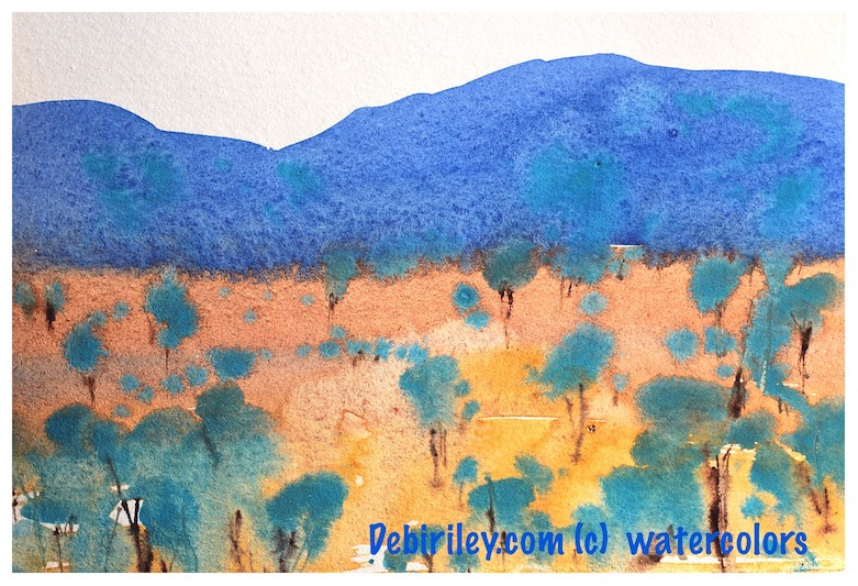 impressionist watercolor, bold and colorful landscapes, mixing blues, debiriley.com