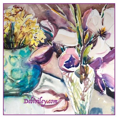 watercolor still life, magnolias, cobalt teal blue, debiriley.com