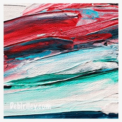 teal blue with scarlet red abstract painting, palette knife art, debiriley.com