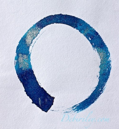 silver and indigo enso, circle of enlightenment, peace, moonlit silver skies, debiriley.com