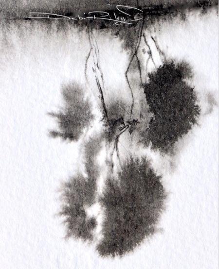 ink trees, tree reflections, debiriley.com