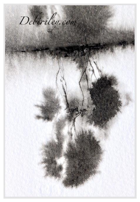 ink trees in black, tree reflections, inktober, debiriley.com