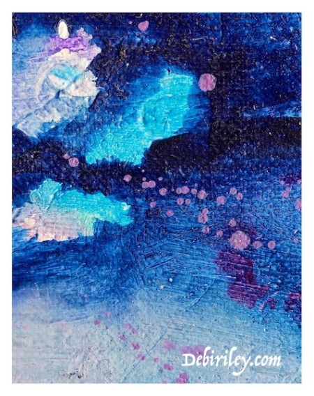 imagination in art and painting, abstract lily pond in blue oils, debiriley.com