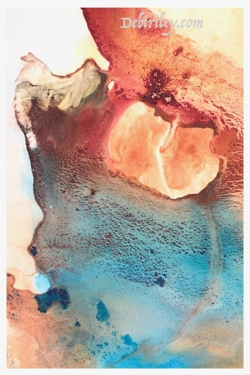creative experimental watercolor techniques, watercolour abstract seas, blue lagoon painting, debiriley.com