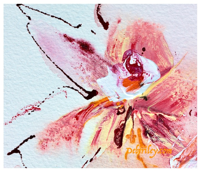 expressing mood through color, mixed media floral paintings, colorful orange pink flower art, debiriley.com