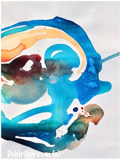 bold cool sea colors, watercolor abstracts in blue, cobalt teal blue pg50, debiriley.com