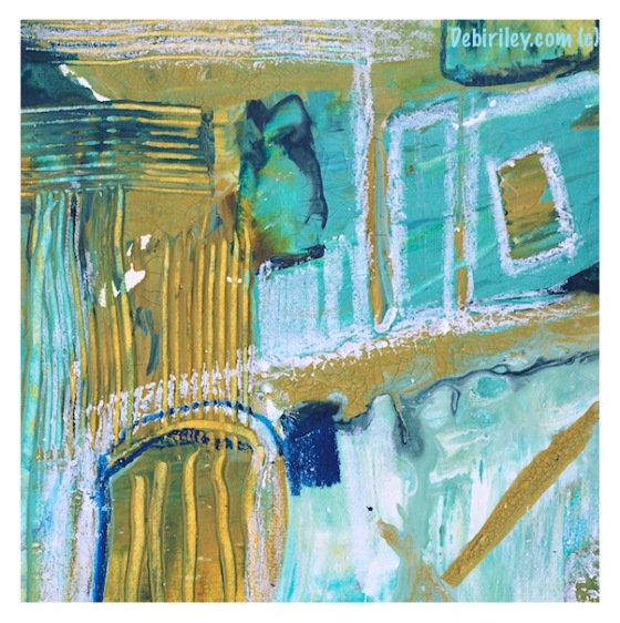 acrylic mixed media, abstract on paper, cobalt teal blue pg50, prussian blue pb27, debiriley.com