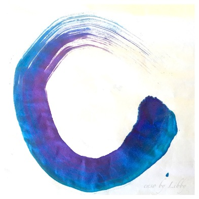 enso point of beginning and end, zen art, enso in blue, debiriley.com