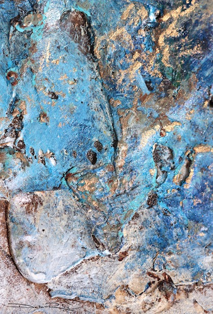 creative textures in watercolor, using gel for textures, blue craggy abstracts, debi riley art, Perth gallery art lessons, debiriley.com