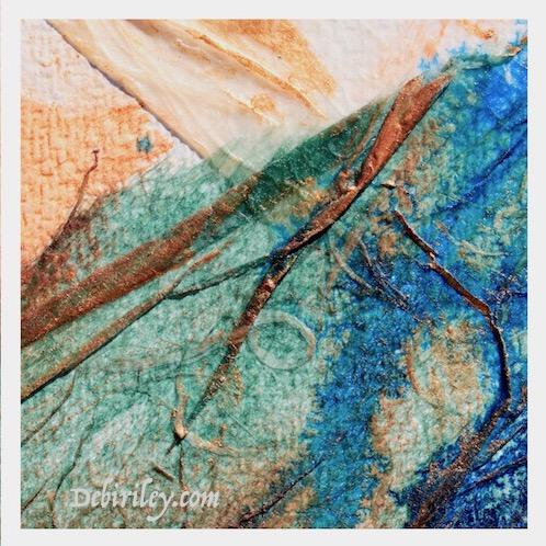 prussian blue pb27 paint, rice paper collage techniques, using square formats, zen wabi sabi, debiriley.com