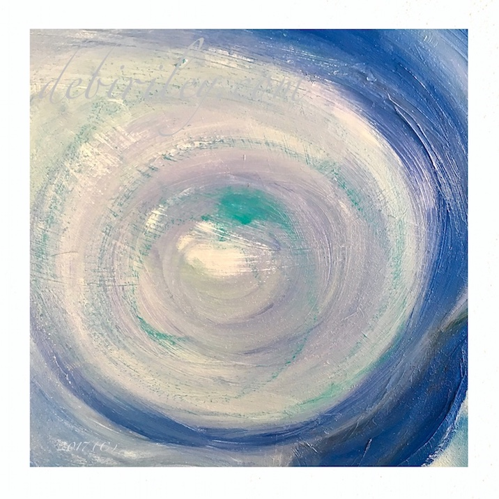 blue abstract sphere painting, oil painting in blues, circles in art, painting in blue, enso zen art, debiriley.com