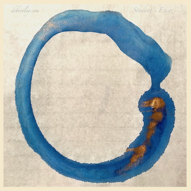 blue copper enso on rice paper, japanese painting, meditation, zen art, debiriley.com
