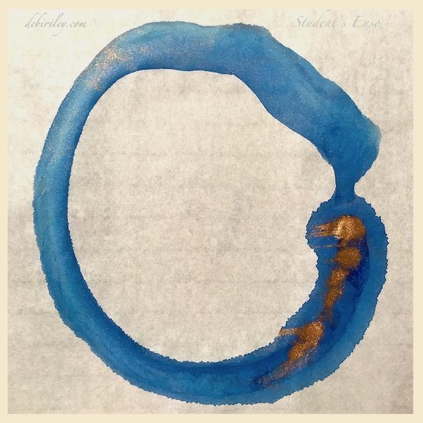 blue copper enso on rice paper, japanese painting, meditation, zen art, debiriley.com