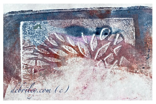 art needs to be open for interpretation, monoprint blue and light red, wing shapes, sun ray shapes, debiriley.com