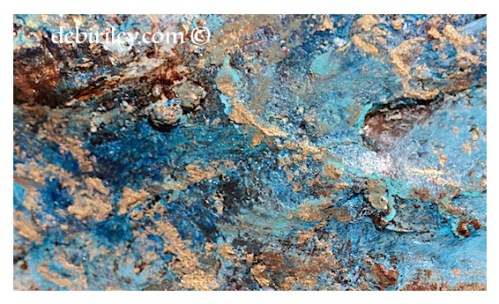 blue shimmering pools in acrylics, abstract textures in paints, fun textures, debiriley.com