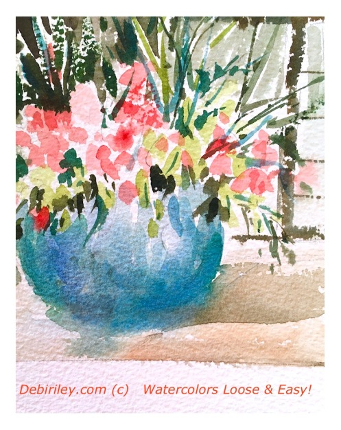 watercolor pink patio flowers, painting loose its easy, debiriley.com